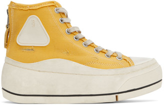 R 13 Yellow Distressed High-Top Sneakers