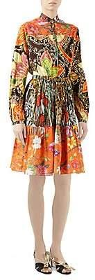 Gucci Women's New India Print Cotton Long-Sleeve Dress