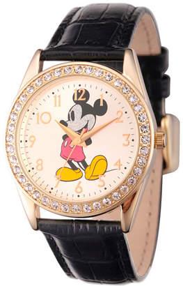Disney Womens Gold Tone Glitz Mickey Mouse Strap Watch W002750