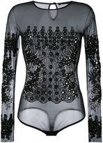 Amen embellished sheer bodysuit - women - Polyamide/Spandex/Elastane/Viscose/glass - 44
