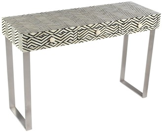 Empress Homewares Harita Chevron Bone Inlay Console With Drawers Black
