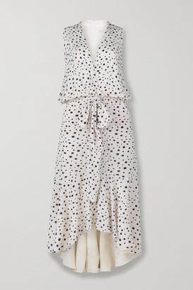 Silvia Tcherassi Nini Tie-front Polka-dot Crepe De Chine Midi Dress - White