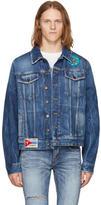 Saint Laurent Blue Distressed Patches Denim Jacket