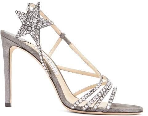 Jimmy Choo Lynn 100 Metallic Leather Sandals - Womens - Dark Grey