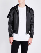 Givenchy Knitted-collar leather bomber jacket