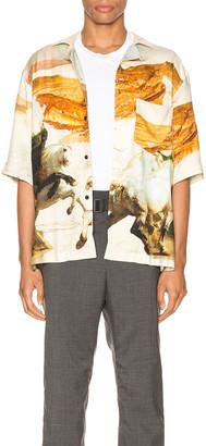 Acne Studios Short Sleeve Shirt in Cream Multi   FWRD