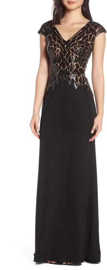 Tadashi Shoji Sequin & Crepe Evening Dress