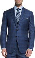 Brioni Colosseo Check Two-Piece Wool Suit, Blue