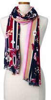 Classic Women's Striped Edge Floral Scarf-Gray/Red Azalea