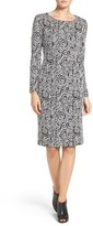 Betsey Johnson Rose Pattern Jacquard Sheath Dress