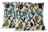 Cotton Chainstitch Embroidery Floral Cushion Covers (Pair), 'Blue Cockatoo Garden'