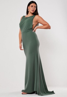 Missguided Size Bridesmaid Green Sleeveless Low Back Maxi Dress