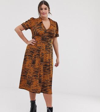 ASOS DESIGN Curve animal print midi tea dress