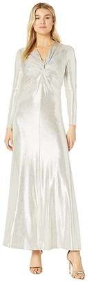 Tahari ASL Long Sleeve Twist Front Metallic Stretch Gown (Silver Powder) Women's Dress