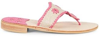Jack Rogers Raffia Leather Toe-Thong Flats
