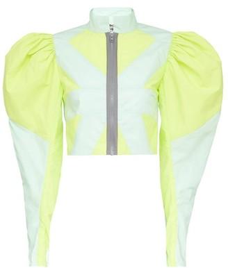 Matty Bovan - Puff-sleeve Geometric-panelled Deadstock Blouse - Green