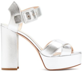 Nicholas Kirkwood Essential Metallic Leather Platform Sandals - Womens - Silver
