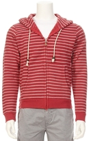 SOLCA Striped Zip Hoodie With Solid Elbow Patches