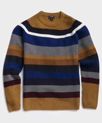 Todd Snyder Italian Merino Bold Stripe Waffle Crew Sweater