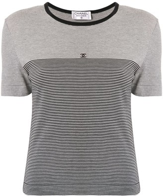 Chanel Pre Owned striped CC T-shirt