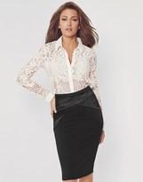 Black Satin Pencil Skirt - ShopStyle UK