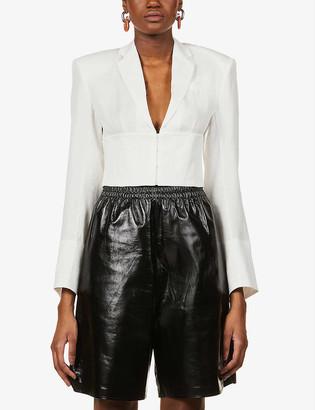 REMAIN Birger Christensen Chantal corset-style cropped woven blouse