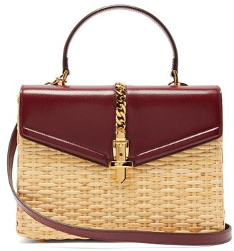 Gucci Sylvie Wicker And Leather Top-handle Bag - Burgundy Multi