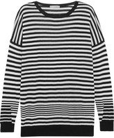 Vince Striped Cotton, Silk And Cashmere-blend Sweater - Black
