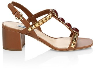 Prada Embellished Block-Heel Slingback Leather Sandals