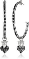 King Baby Studio Queen Baby Crowned Hearts Large with Pave Cubic Zirconia Hoop Earrings