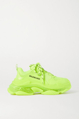 Balenciaga Triple S Clear Sole Logo-embroidered Faux Leather, Foam And Mesh Sneakers - Yellow