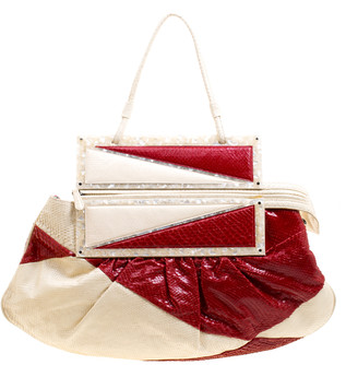 Fendi Off White/Red Python To You Convertible Clutch Bag