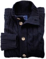 Charles Tyrwhitt Navy Lambswool Cable Knit Cardigan Size Medium