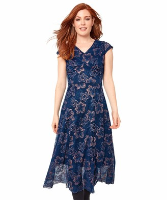 Joe Browns Womens Floral Print Cap Sleeve Dress with Lace Blue 8