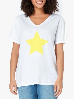 Live Unlimited Curve Star Print V-Neck Top, White/Yellow