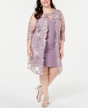 Alex Evenings Plus Size Embroidered Jacket & Sheath Dress