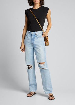 GRLFRND Mica Distressed Straight-Leg Jeans