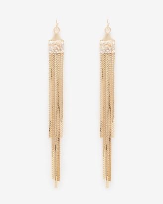 Express Chain Fringe Beaded Post Back Drop Earrings