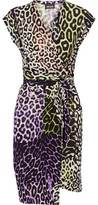 Just Cavalli Wrap-Effect Printed Stretch-Jersey Dress