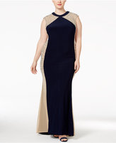 Xscape Evenings Plus Size Beaded Illusion Colorblocked Gown