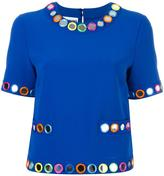 Moschino embellished shortsleeved blouse - women - Polyester/Triacetate - 42