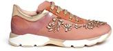 Rene Caovilla Strass appliqué mix trim velvet sneakers