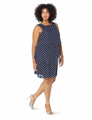 Jessica Howard JessicaHoward Plus Size Womens Sleeveless Asymmetrical Layered Laser Cut Shift Dress Navy/Ivory 16W