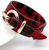 Ella & Elly Women's Bracelets Red - Red & Goldtone Leopard Buckle Bangle