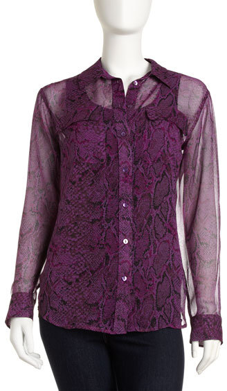 Equipment Python-Print Eyelet Blouse, Orchid