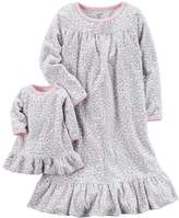 Carter's Toddler Girl Leopard Fleece Nightgown with Doll Nightgown