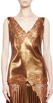 Stella McCartney Anastasia Metallic Lace-Trim Top, Sienna