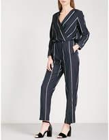 Maje Panti V-neck pinstriped woven jumpsuit
