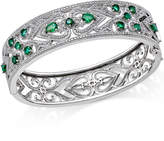 Macy's Emerald (2-1/2 ct. t.w.) and Diamond (1/3 ct. t.w.) Antique-Look Bangle Bracelet in Sterling Silver