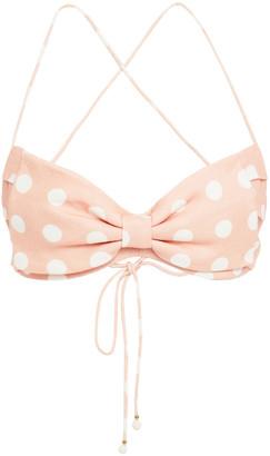 Zimmermann Bow-embellished Polka-dot Linen Bra Top